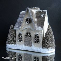 Putz House, Silver Leaf Fluted Roof, Off White Stucco, Silver German Glass Glitter, Bottle Brush Trees by MagiaMia