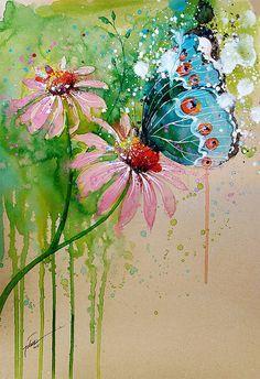 Butterfly watercolour A4 A3 art print by tilentiart on Etsy
