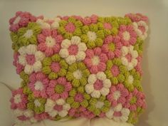 CUSHION 12 x 12  , BEAUTIFUL BARGAIN, crochet flowers ...