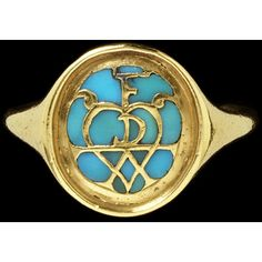 Gold ring, with an almost circular bezel, the face pierced and set with shaped turquoises, leaving a heart, scrolls and the initials 'FDA' reserved in metal, Germany, ca mid 16th century