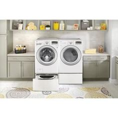 LG Electronics 27 in. Laundry Pedestal with Storage Drawers for Washers and Dryers in White-WDP4W - The Home Depot Lg Washer And Dryer, Stackable Washer And Dryer, Washer And Dryer Pedestal, Laundry Pedestal, Pedestal Sink, Laundry Supplies, Front Load Washer, Laundry Room Organization, Laundry Rooms