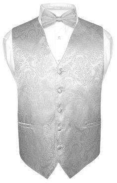 Men's Silver Paisley Design Dress Vest and BOWTie Set for Suit or Tuxedo #VesuvioNapoli