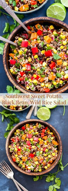 Southwest Sweet Potato, Black Bean, Wild Rice Salad is a colorful and flavorful salad full of sweet potatoes, black beans, wild rice, corn, cilantro and a wonderful chili lime dressing. Serve it as a side or main dish.