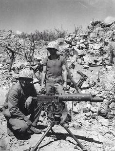 "A US M1917 .30 Cal water cooled Browning machine-gun on Iwo Jima named the ""Widow Maker""."