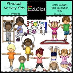 This set contains all the images shown.Images include children doing different physical activities: climbing, running, trampolining, hopping, skipping, balancing, doing splits, stretching, doing a handstand and jumping. A 'Move Your Body' sign is also included.Color images saved at 300dpi in PNG files.For personal or commercial use.Download Preview for TOU.Click here for Physical Activity Kids BLACK AND WHITE Clip ArtThanks for looking!SarahEduclips 2013Follow Educlips on FacebookFollow…