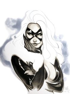 Black Cat by Ben Harvey * Spiderman Black Cat, Black Cat Marvel, Spiderman Art, Pencil Art Drawings, Art Sketches, Comic Books Art, Comic Art, Female Villains, Female Drawing