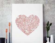 vinilo con un corazón lleno de arte, el mejor vinilo decorativo para todo tipo de habitaciones
