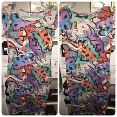 Graffiti Dress Colorful short sleeve graffiti bodycon dress, from Asos. Only worn once, in great condition. It's very flattering! Size small, true to size. Dresses Midi