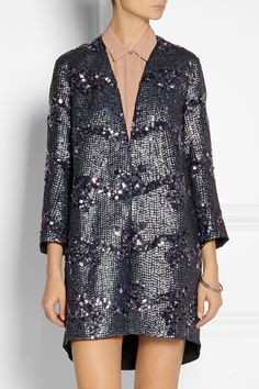 Theyskens' Theory Sequined silk-crepe coat