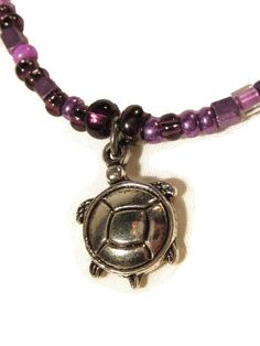 Cute Turtle Pendant with Purple Seed Bead Necklace Teen Gift