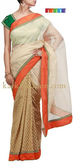 Buy it now  http://www.kalkifashion.com/half-and-half-saree-with-raw-silk-border.html Half and half saree with raw silk border