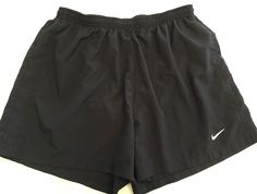 Nike Dri-Fit Men's Black Lined Running Training Athletic Gym Shorts LARGE L  | eBay