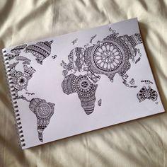 art, artist, draw, drawing, dream, mandala, world, world map