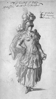 "Costume for Penthesilea Queen of the Amazons from""The Masque of Queens"",1609.  Inigo Jones"