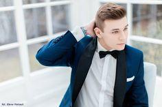 Giacomo Conti - męska stylizacja na ślub, smoking, garnitur, granatowy garnitur, czarna muszka, elegancki mężczyzna