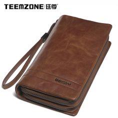 Men Women Real Leather Zip Long Fancy Wallet Clutch Purse Handbag Mobile Holder #teemzone #Checkbookphonewallet