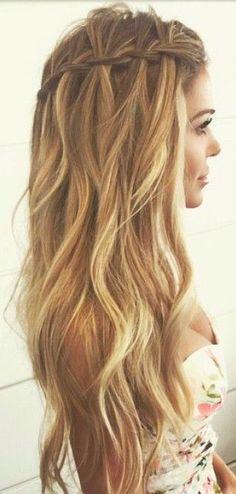 Twist braid. Long hair with waves.