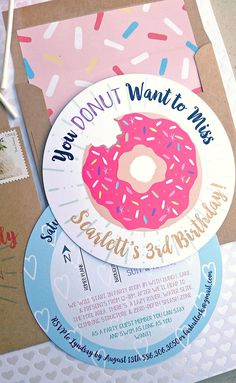 Pink Sprinkle Donut Birthday Invitation by Cordial Punch Press
