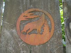 RUSTIC Metal Howling Wolf Home Decor  Outdoor/Indoor Wall by MDyke, $49.95