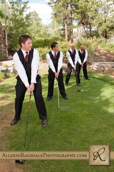 Fun wedding ideas. This would also be hilarious because I broke one of his drivers my first time hitting a ball.