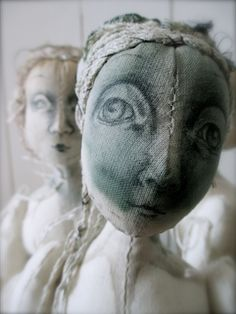 Nettle dyed art cloth doll.