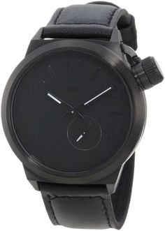 Vestal Men's CTN3L02 Canteen All Black with Charcoal Enamel Crown Watch: Vestal: Watches   Shopping fashion online style Gift guide for men and women, birthdays, Father's Day, Christmas, Mother's Day. Sports luxe Danish minimalist design