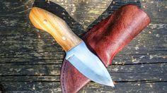 Bruxa custom bushcraft knife with a leather sheath by WillowCellar