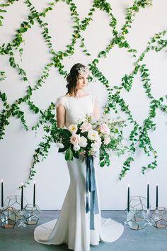 Winter Wedding Inspiration with Greenery Backdrop - http://ruffledblog.com/winter-wedding-inspiration-with-greenery-backdrop photo Yasmin Sarai