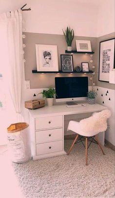 study room small office layouts Bohemian bedroom … – Home office design layout Bedroom Decor For Teen Girls, Room Ideas Bedroom, White Desk Bedroom, Small Room Design Bedroom, Teenage Room Decor, Teen Bedroom Designs, Office In Bedroom Ideas, White Desk Decor, Ikea Bedroom