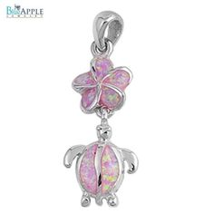 "1.22"" Plumeria Turtle Pendant Charm For Necklace Solid 925 Sterling Silver Pink Lab Created Turquoise Australian Jewelry Nature Gift"