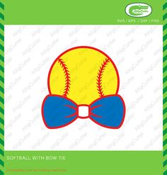 Baseball With Bow Tie Softball Frame SVG DXF PNG by Alligcutter