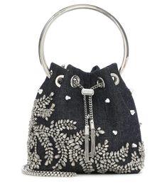 Bucket Bag, Satin Pumps, Jimmy Choo Shoes, Blue Denim, Girl Outfits, Pairs, Jean Jackets, Embellishments, Bohemian