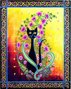 """Black Cat Paisley Art"" Print by ChristinaColwell. I Love Cats, Crazy Cats, Cool Cats, Black Cat Art, Black Cats, Contemporary Paintings, Printable Art, Hobbit, Folk Art"