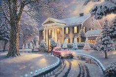 Graceland Christmas. Painted by Thomas Kinkade. http://www.thomaskinkade.com/magi/servlet/com.asucon.ebiz.catalog.web.tk.CatalogServlet?catalogAction=Product&productId=205853&menuNdx=0