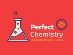 A creative recruitment image template. A bright red background with illustration of a funnel glass. Perfect chemistry passionate thinkers wanted.