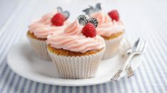 Raspberry and cream cupcakes recipe - BBC Food Raspberry Filled Cupcakes, Raspberry Filling, Mini Cupcakes, Pink Frosting, Icing, Mary Berry, No Sugar Foods, Cupcake Recipes, A Food