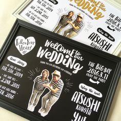 デザイン全体に描かれた手書き風文字が 海外風のデザイン 柔らかい印象の中にも 賑やかで楽しさ溢れるウェルカムボードです お二人のラブーストーリーとお写真を シルエットにカットしてお入れします ーーーー ☑仕様 ーーーー ❶サイズ A3 ※額はついて... Welcome Boards, Welcome Table, Lego Wedding, Our Wedding, Wedding Invitation Cards, Wedding Cards, Web Design, We Fall In Love, Photo Displays