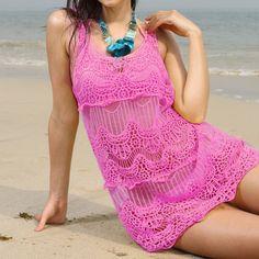 Collar Flower Hollow Beach Bikini Cover Up Dress