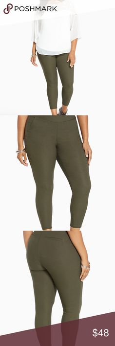 "Torrid Pull On Trouser - Olive Green Textured Knit ""We're pretty obsessed with these pants (you'll be too). The olive green trouser style gets an eye-catching boost with a textured fabrication. Featuring our skinny leg opening that you love (hits at the ankle and everything), the pull on design (complete with a mesh inset panel like our Pixie) is complete with trouser details - note the angled front pockets and faux back pockets. Higher-riser 27"" inseam, 10 1/2"" leg opening."" New with tags…"