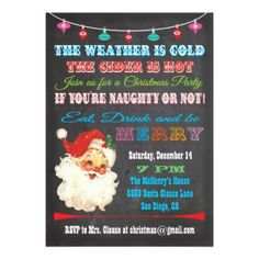 Shop Retro Chalkboard Christmas Party Invitation created by McBooboo. Personalize it with photos & text or purchase as is! Adult Christmas Party, Xmas Party, Retro Christmas, Christmas Humor, Holiday Parties, Christmas Time, Christmas Party Themes For Adults, Christmas Ideas, Holiday Ideas