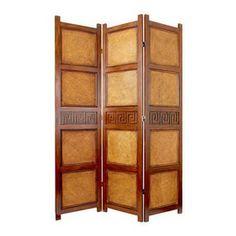 Oriental Furniture 3-Panel Dark Mocha Wood Folding Indoor Privacy ...