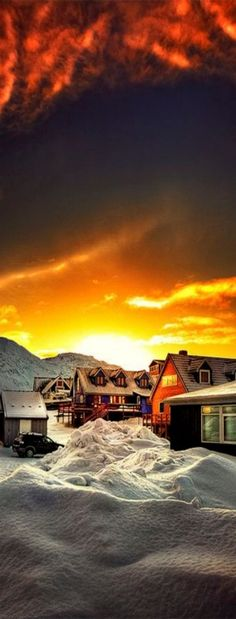 Sunset in Nuuk, Greenland. Nuuk is the capital and largest city of Greenland. Places Around The World, The Places Youll Go, Places To See, Around The Worlds, Beautiful Sunset, Beautiful World, Beautiful Places, Wonders Of The World, Finland