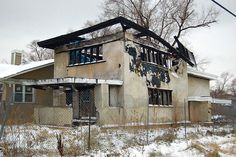 Frank Lloyd Wright's Wynant House, Gary, Indiana, abandoned in the 1950's and la...