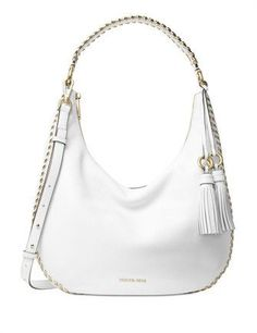 Michael Michael Kors Lauryn Large Shoulder Bag - Optic White - One Size Mk Handbags, Luxury Handbags, Fashion Handbags, Fashion Bags, Designer Handbags, Women's Fashion, Sac Michael Kors, Handbags Michael Kors, Simple Bags