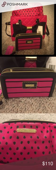 Very nice brand new 3 piece set with tags Betsey Johnson Purse, oversized wallet and extra late makeup bag. Pink Fuchsia, Black, Striped, Quilted, Gold Accents, Very nice! Betsey Johnson Bags Shoulder Bags