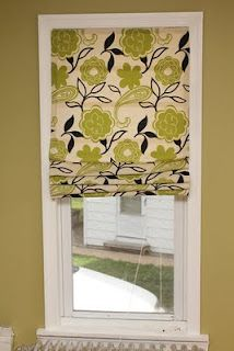 Roman shades made using blinds.