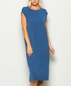 Denim Blue Cap-Sleeve Dress