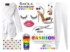 """""""She's a Rainbow!!!"""" by yurisnazalieth ❤ liked on Polyvore featuring STELLA McCARTNEY, Vivienne Westwood Anglomania, Aquazzura, Edie Parker, Lime Crime and Chantecaille"""