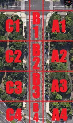 少しでも現在位置が説明しやすいように、国会前のエリアマップをつくりました。 A列がステージ側、B列が車道中央、C列が対岸です。 ぜひご活用ください。