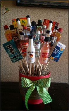 Liquor bouquet for white elephant gift. You can't go wrong. Liquor bouquet for white elephant gift. You can't go wrong. Valentine's Day Gift Baskets, Raffle Baskets, Christmas Gift Baskets, Diy Christmas Gifts, Simple Christmas, Valentine Day Gifts, Holiday Gifts, Liquor Gift Baskets, Santa Gifts